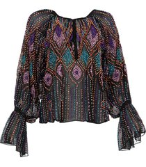 blouse met pailetten emilia  zwart