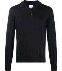 brioni zip-top wool jumper - blue