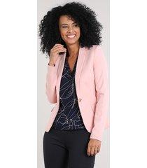 blazer feminino acinturado com bolsos rosê
