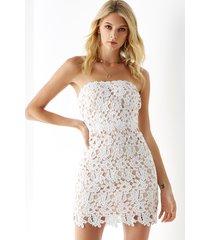 yoins white crochet lace embellished strapless dress