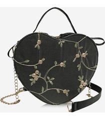 heart shape embroidery floral crossbody bag