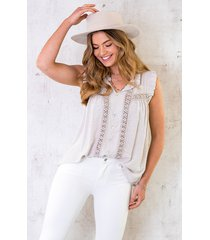 embroidery blouse oversized beige