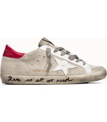 golden goose deluxe brand sneakers super star suede colore bianco fucsia