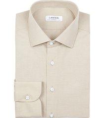 camicia da uomo su misura, grandi & rubinelli, eco beige, quattro stagioni | lanieri