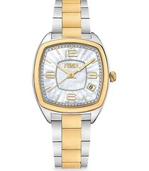 momento two-tone goldplated stainless steel bracelet watch