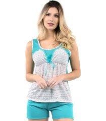 pijama curto amamentação blusinha short bravaa modas 005 azul claro