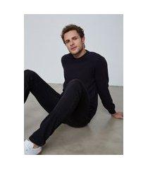 camiseta masculina manga longa em malha texturizada - preto