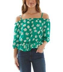 bcx juniors' printed off-the-shoulder blouse