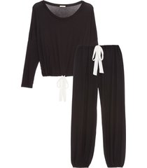 women's eberjey gisele slouchy pajamas, size medium - black