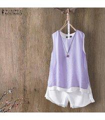 zanzea mujeres sin mangas summer tank tops casual cami blusa camisa camisole plus -púrpura