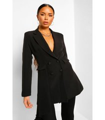 drape side double breasted longline blazer, black