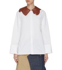 vegan leather collar barrel cuff shirt