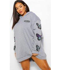 plus butterfly sleeve hooded sweat dress, grey marl