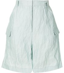 emporio armani crinkle-effect shorts - green