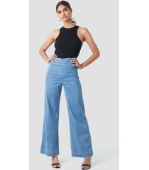 trendyol high waist wide leg jeans - blue