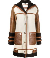 alexander mcqueen contrast panel button-front coat - brown