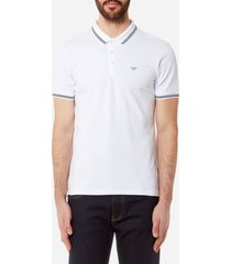 emporio armani men's tipped polo shirt - bianco ottico - xxl - white