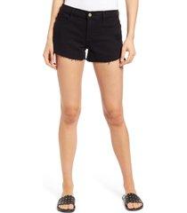 women's frame le cutoff tulip hem denim shorts, size 28 - black