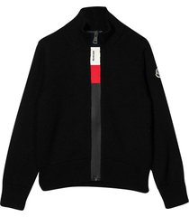 moncler black cardigan with frontal zip closure