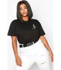 plus stay wild rose pocket print t-shirt, black