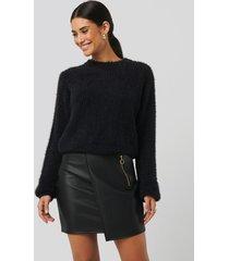 sara sieppi x na-kd asymmetric pu zipper skirt - black