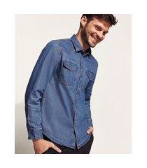 camisa jeans masculina slim com bolsos e botões de pressão manga longa azul médio