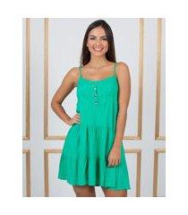 vestido miss misses rodado com botões verde