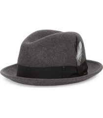 bailey tino snap brim wool fedora, size small in black mix at nordstrom