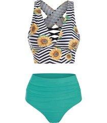 sunflower zig zag criss cross tummy control tankini swimwear