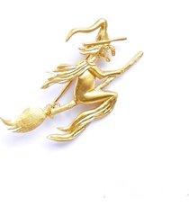 broszka srebrna- duża wiedźma złota