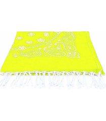 mc2 saint barth yellow fluo bandana print jacquard beach towel