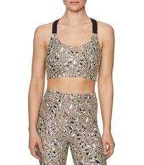 betsey johnson performance women's camo zebra-print sports bra - chocolate - size s
