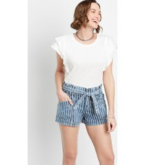 maurices womens high rise medium stripe belted 3.5in shorts blue