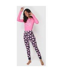 pijama malwee liberta raposa rosa/azul-marinho