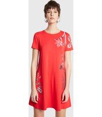 vestido desigual dress flores rojo - calce regular