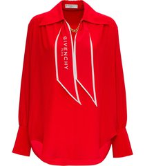 givenchy red silk blouse with scarf detail