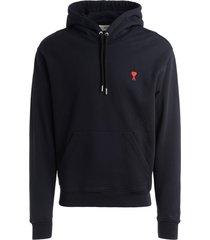 ami alexandre mattiussi ami paris black hooded sweatshirt with logo