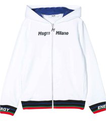 msgm white sweatshirt with hood, zip and multicolor press