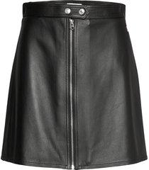 leather zip up mini skirt kort kjol svart calvin klein