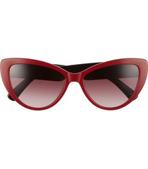 women's longchamp heritage 56mm gradient cat eye sunglasses - brick