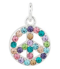 fine silver plated crystal peace sign charm