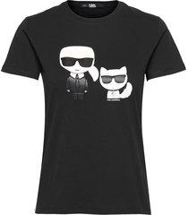 ikonik karl & choupette tee t-shirts & tops short-sleeved svart karl lagerfeld