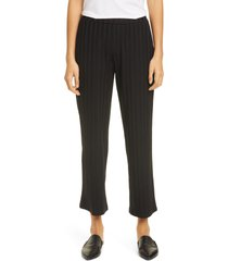 women's eileen fisher ribbed knit straight leg ankle pants, size x-small - black