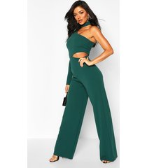 one shoulder wide leg cut side jumpsuit, bottle green