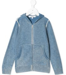 bonpoint faded knit zip-front hoodie - blue