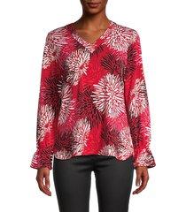 pappagallo women's hannah floral blouse - brilliant - size s