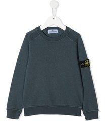 stone island junior logo-patch raglan sweatshirt