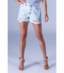 short jeans equivoco destroyed feminino