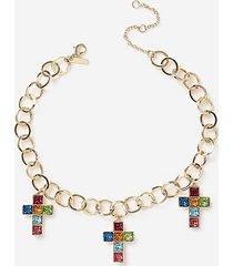 *bright multicoloured cross necklace - multi bright