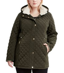 laundry by shelli segal plus size faux-sherpa-lined quilted coat